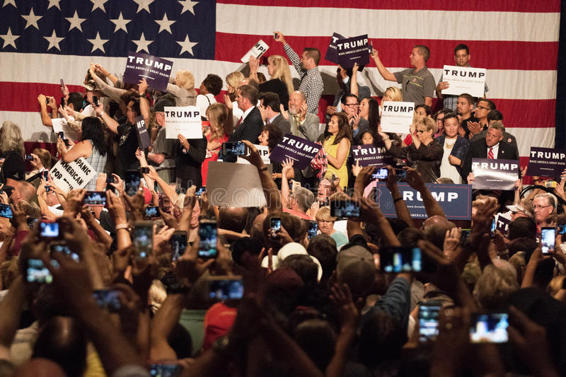 Donald Trumps first Presidential campaign rally in Phoenix. Donald Trump held his first campaign rally, since announcing his Republican candidacy for President royalty free stock photo