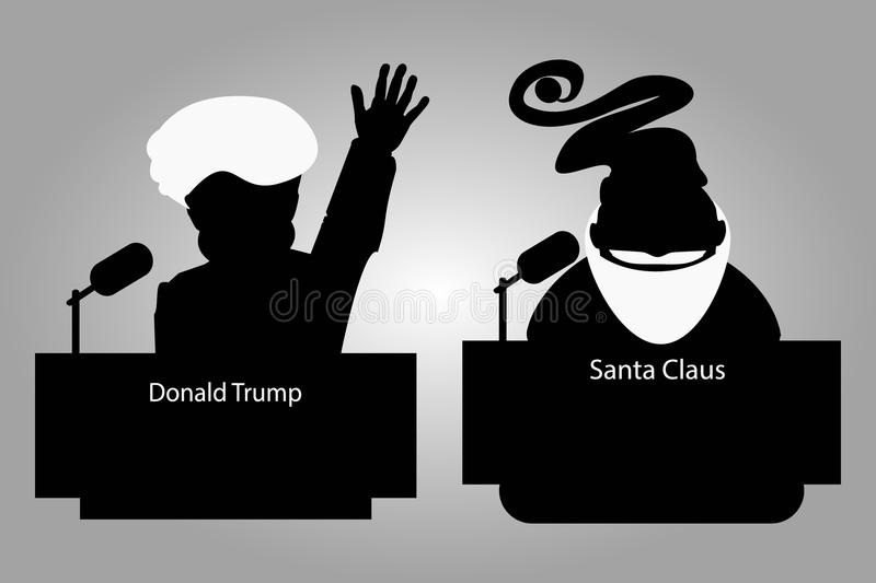 Donald Trump and Santa Claus of a tribune silhouettes an icon for interview, hand up. speaker press conference. The microphone royalty free illustration