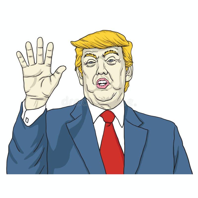 Donald Trump Says, Bespreking aan Mijn Hand De vectorillustratie van het beeldverhaal 8 augustus, 2017 royalty-vrije illustratie