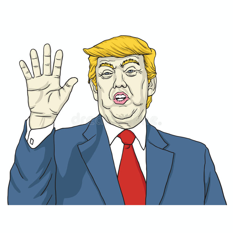 Donald Trump Says, entretien à ma main Illustration de vecteur de dessin animé 8 août 2017 illustration libre de droits