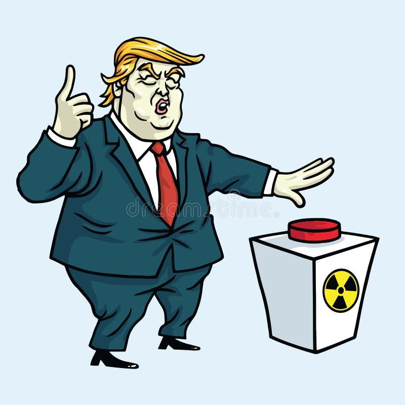 Donald Trump Shouting en Klaar om de Rode Knoop te duwen De vectorillustratie van het beeldverhaal 3 mei, 2017 stock illustratie
