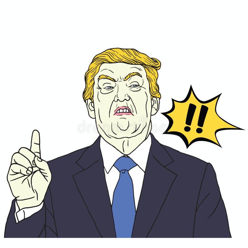 Donald Trump Shouting Ilustração do pop art do vetor 30 de setembro de 2017 ilustração royalty free