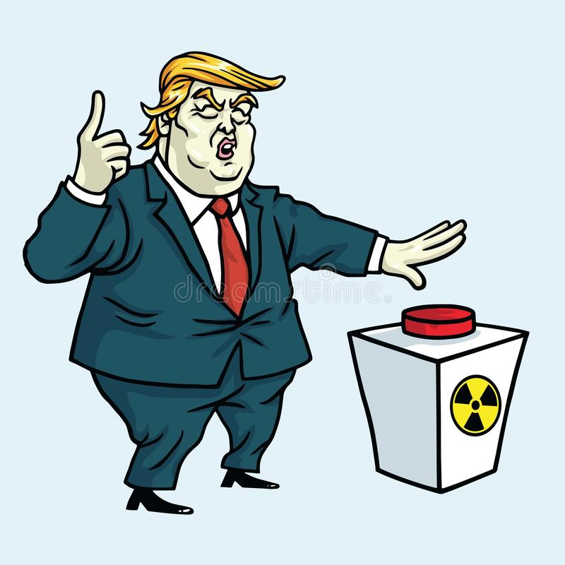 Donald Trump Shouting och ordnar till för att skjuta den röda knappen den främmande tecknad filmkatten flyr illustrationtakvektor