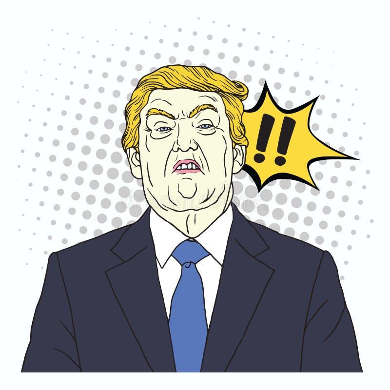 Donald Trump Shouting PNF Art Comics Style Illustration do vetor 27 de setembro de 2017 ilustração stock