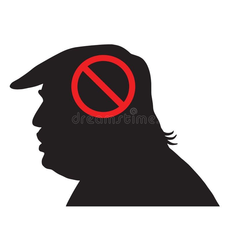Donald Trump Silhouette With Anti-Teken Vectorpictogramillustratie royalty-vrije illustratie