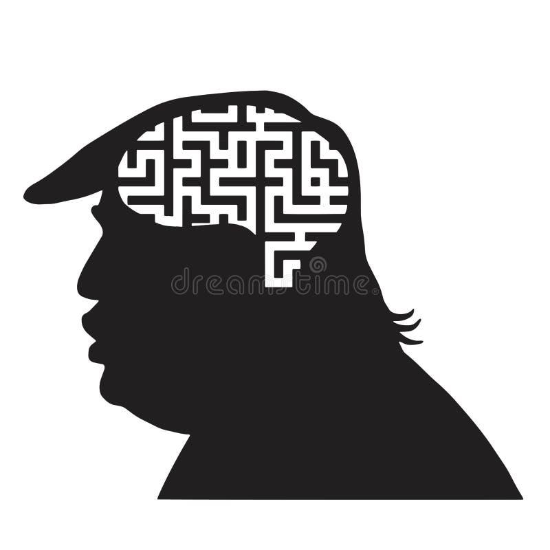 Donald Trump Silhouette y Maze Labyrinth Icon Vector Illustration ilustración del vector