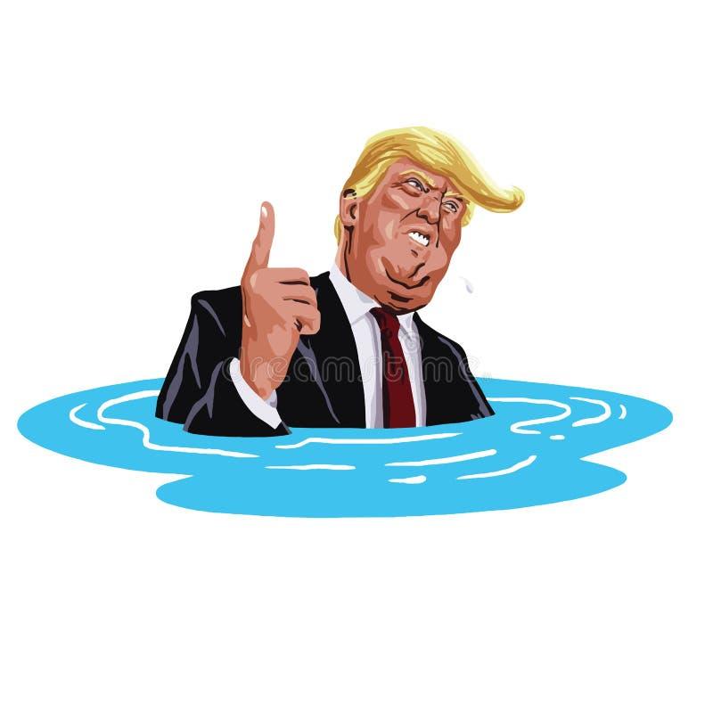 Donald Trump Sinking Ilustração da caricatura dos desenhos animados do vetor 20 de outubro de 2017 ilustração royalty free