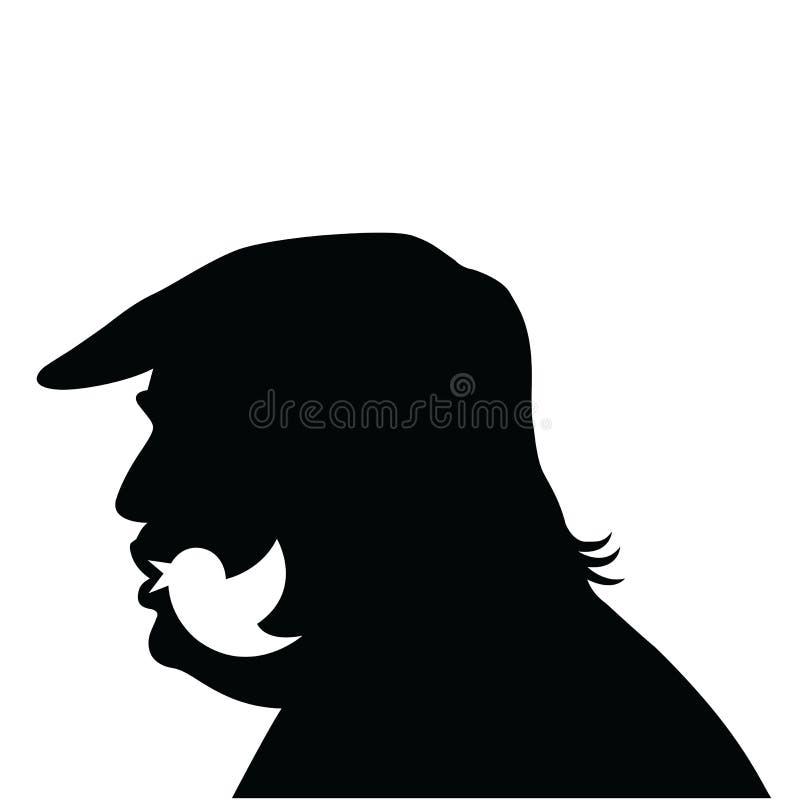 Donald Trump Social Media Updates Ícone da silhueta do vetor ilustração do vetor