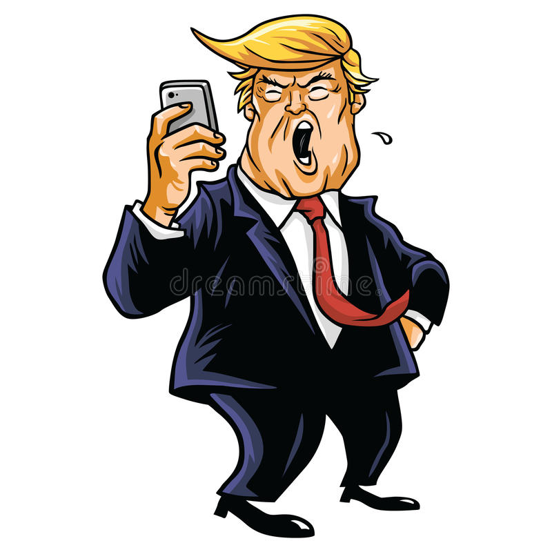 Donald Trump and Social Media. Using Mobile Phone vector illustration