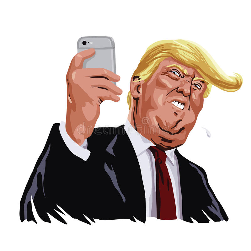 Donald Trump and Social Media Vector Portrait Cartoon Caricature royalty free illustration