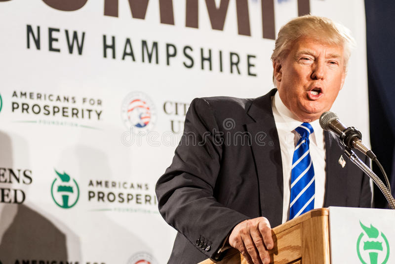 Donald Trump speaks in New Hampmshire. royalty free stock photo