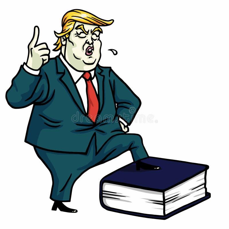 Donald Trump Standing no livro da constituição Ilustração dos desenhos animados do vetor 13 de julho de 2017 ilustração do vetor