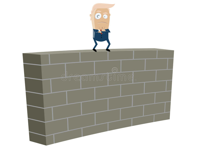 Donald trump standing on top of a wall. Clipart of donald trump standing on top of a wall vector illustration