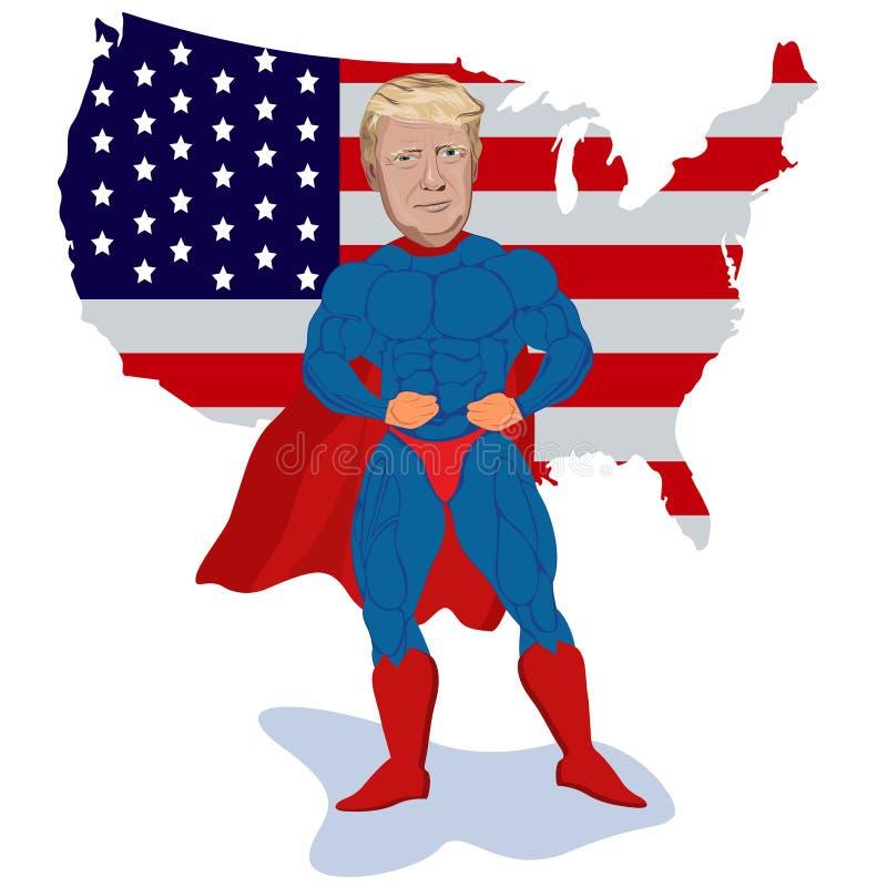 Donald Trump, super-herói, mapa, ilustração do vetor ilustração royalty free
