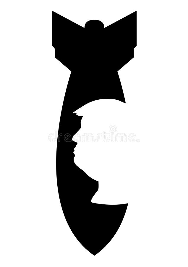 Donald Trump and superbomb silhouettes. Donald Trump and bomb silhouettes, vector file, illustration stock illustration