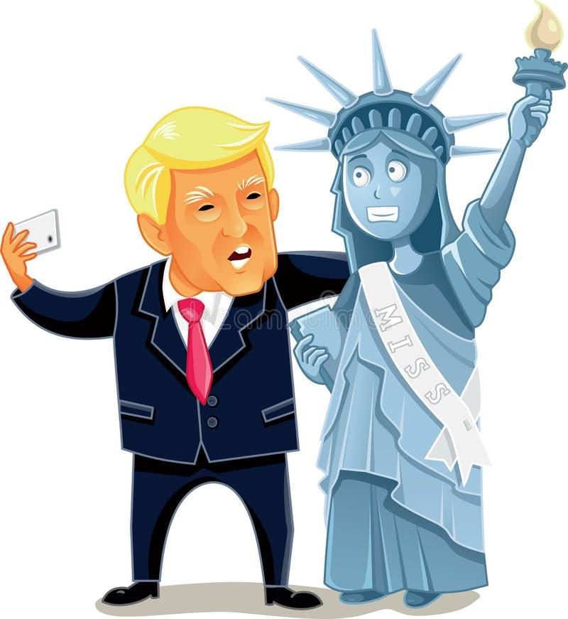 Donald Trump Taking um Selfie com a estátua da liberdade ilustração stock