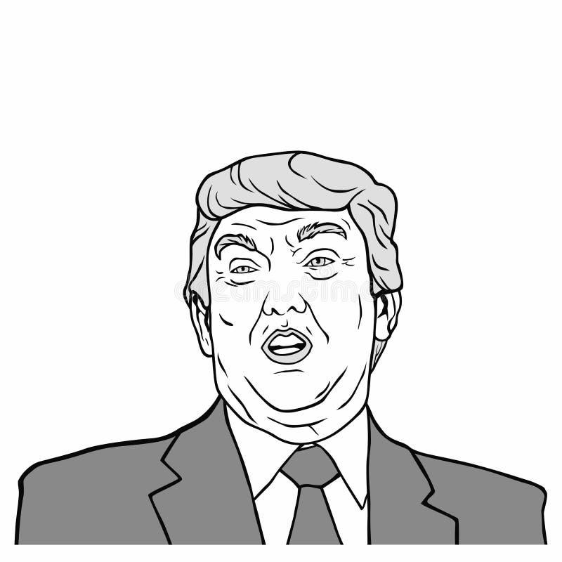 Donald Trump, 45th presidente do Estados Unidos da América, ilustração preto e branco do projeto do vetor ilustração do vetor