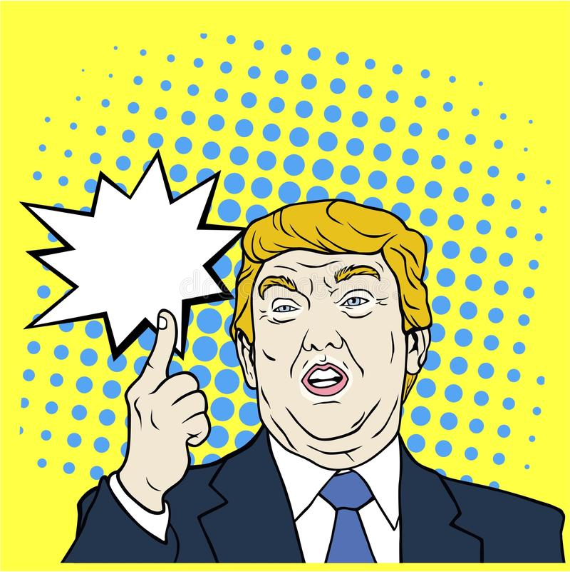 Donald Trump, a 45th Presidente dos Estados Unidos, pop art, ilustração lisa do vetor do projeto ilustração stock
