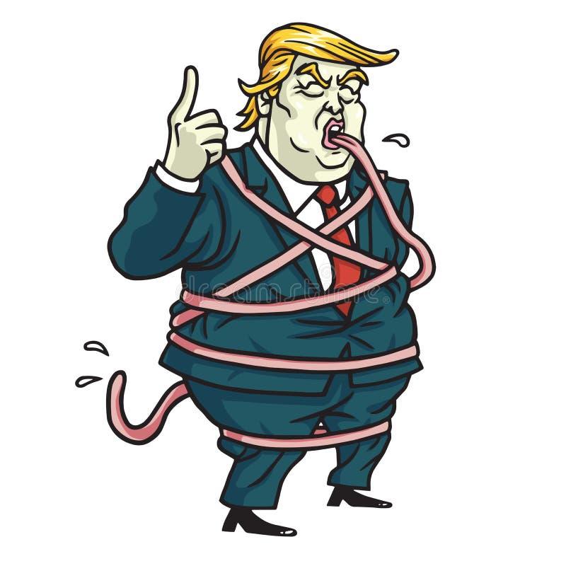 Donald Trump Tongue Tied Cartoon Illustrazione di vettore 5 maggio 2017 illustrazione vettoriale