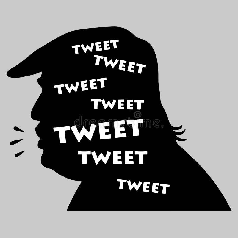 Donald Trump Tweets Silhueta da ilustração do vetor 20 de setembro de 2017 ilustração royalty free