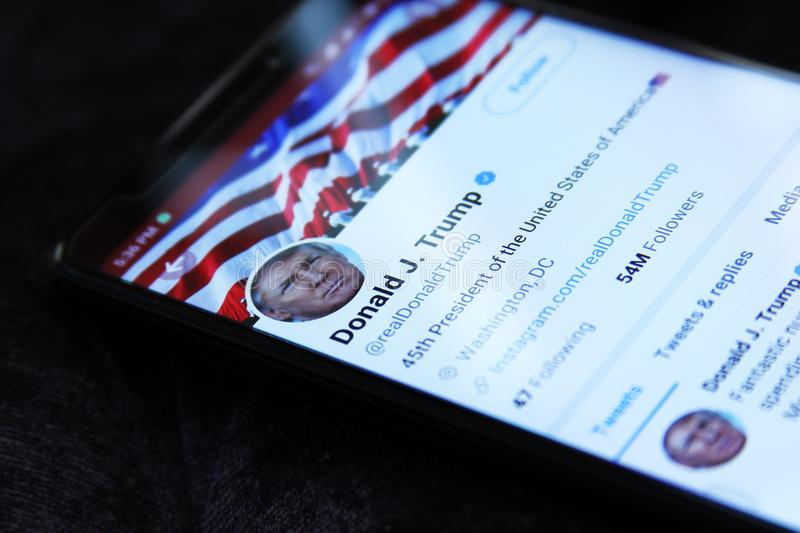 Donald Trump twitter. Twitter profile of President of United States of America Donald Trump on mobile stock photo