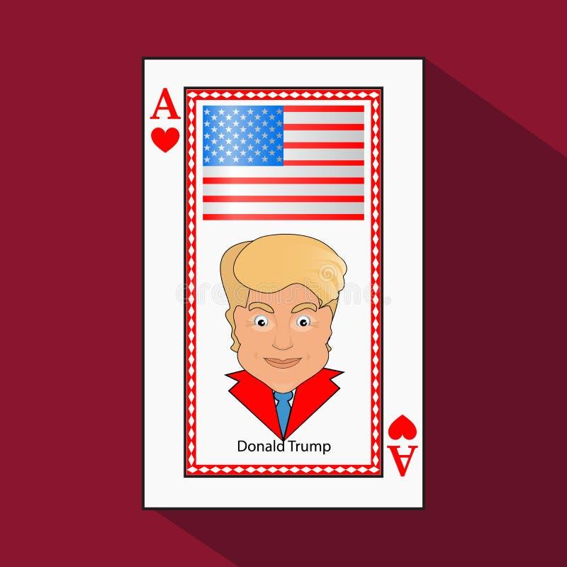 Donald Trump um ícone um ás da ilustração do vetor a vitória do cartão de jogo para ganhar o coração da combinação Bandeira ameri ilustração royalty free