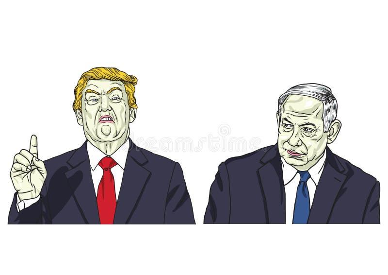 Donald Trump und Benjamin Netanyahu Vektor-Porträt-Karikatur-Karikatur-Illustration 17. Mai 2018 vektor abbildung