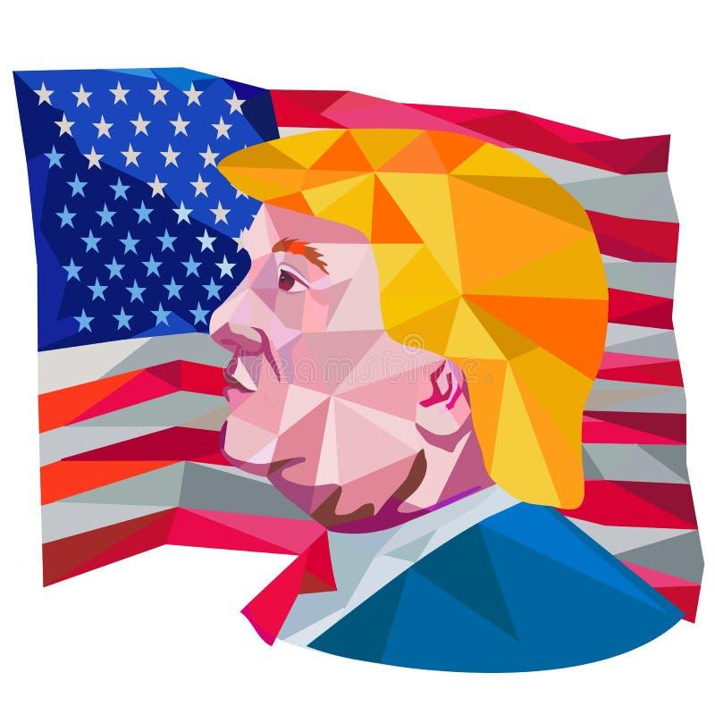 Donald Trump USA Flag Low Polygon stock illustration