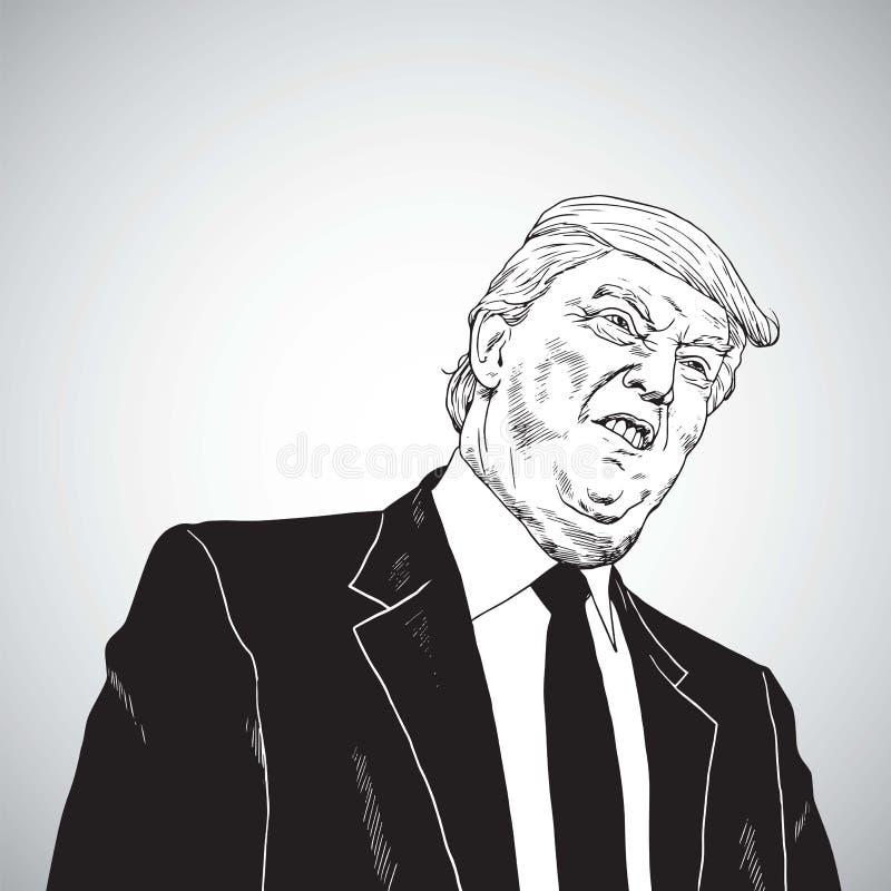 Donald Trump Vector Illustration Drawing. October 31, 2017 royalty free illustration