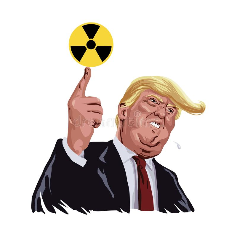 Donald Trump Vector with Nuclear Sign Symbols. March 28, 2017 stock illustration