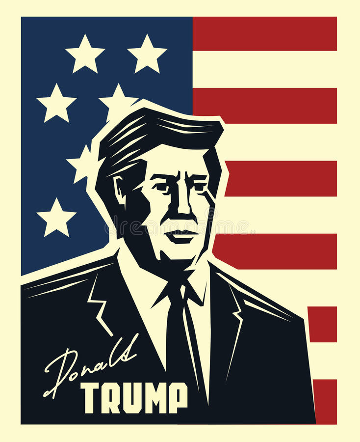 Donald Trump vector. Portrait of Republican Presidential Candidate Donald Trump stock illustration