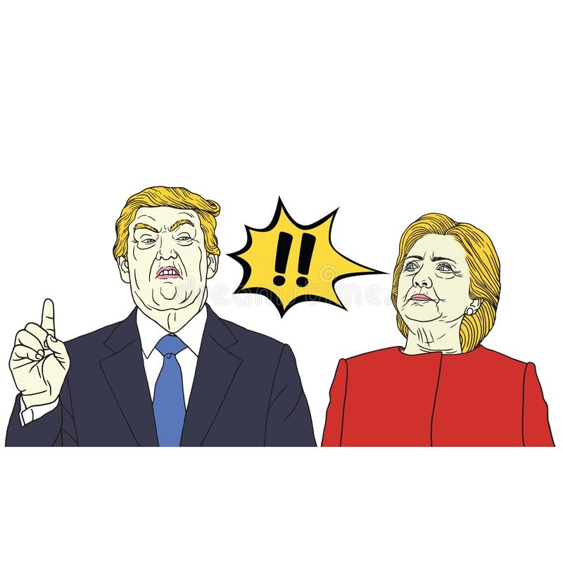 Donald Trump versus Hillary Clinton Pop Art Vector Illustration 29 september, 2017 stock illustratie