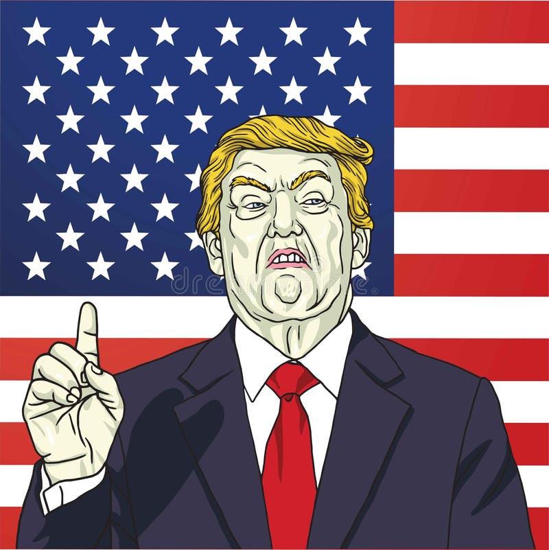 Donald Trump Vetora Portrait Illustration na bandeira americana 12 de outubro de 2017 ilustração stock
