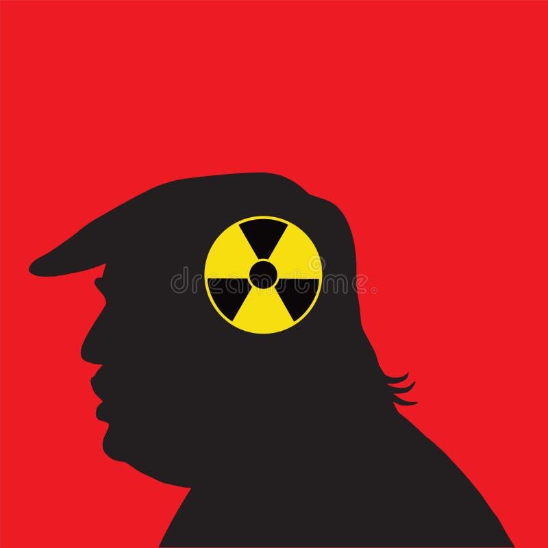 Donald Trump Vetora Silhouette com símbolos nucleares do sinal 28 de março de 2017 ilustração do vetor