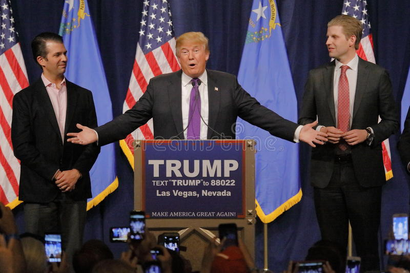 Donald Trump victory speech following big win in Nevada caucus, Las Vegas, NV. LAS VEGAS, NV - FEBRUARY 23: Donald Trump is flanked by sons Eric (Right) and stock images