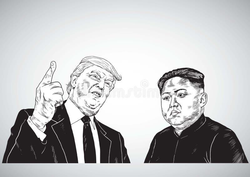Donald Trump Vs Kim Jong-un. Vector Portrait Drawing Illustration. October 31, 2017 stock photo