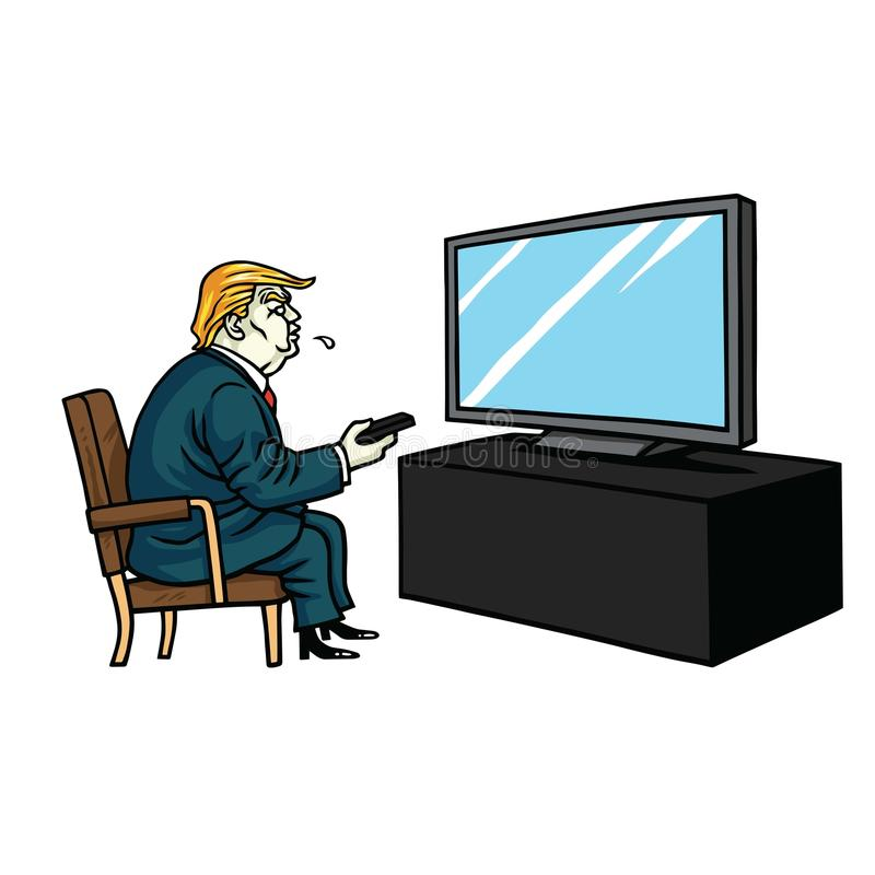 Donald Trump Watching Television De vectorillustratie van het beeldverhaal 3 maart, 2018 royalty-vrije illustratie