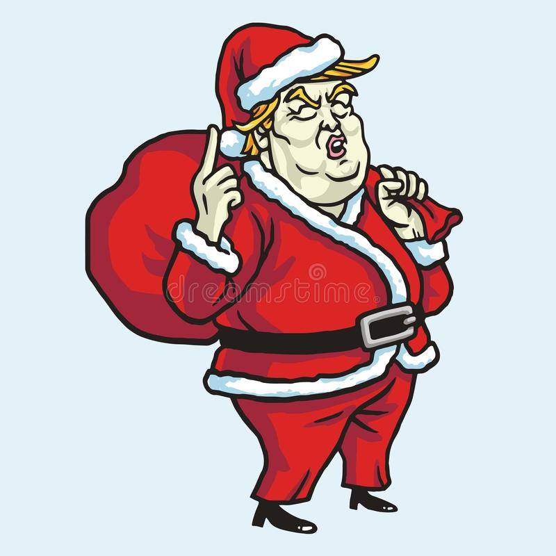 Donald Trump Wearing Santa Claus-Kostuum De Vectorillustratie van de Kerstmisviering 21 november, 2017 stock illustratie
