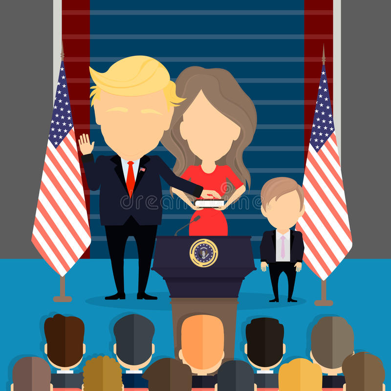 Donald Trump with wife and son. Russia January 02, 2017 Donald Trump with his wife Melania and son Barron. New american president. First lady of the United royalty free illustration