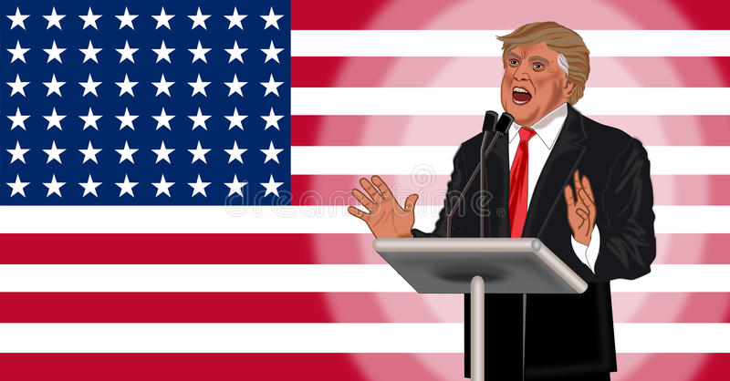 Donald Trump. Won election illustration isolated vector illustration