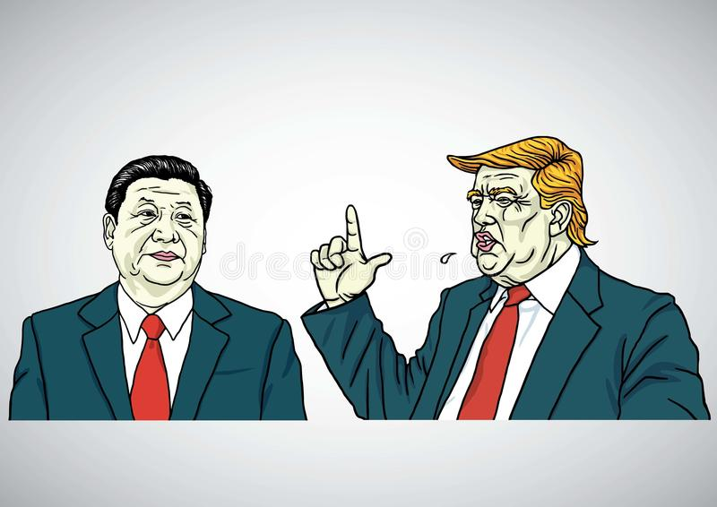 Donald Trump and Xi Jinping Portrait. USA and China. Cartoon Vector Illustration. July 29, 2017. Donald Trump and Xi Jinping Portrait. USA and China. Cartoon