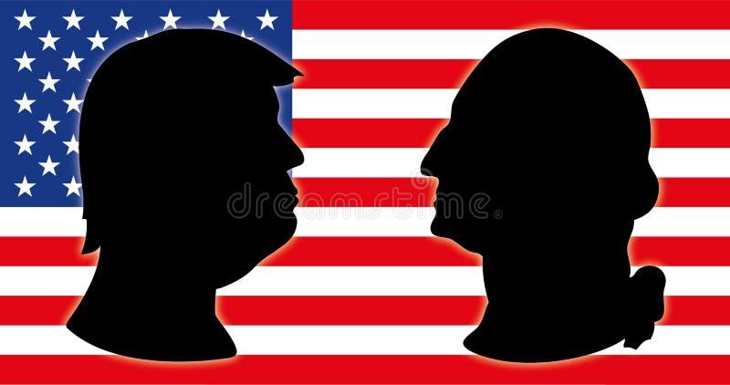 Donald Trump y George Washington, presidentes de los E.E.U.U. con la bandera de los E.E.U.U. libre illustration