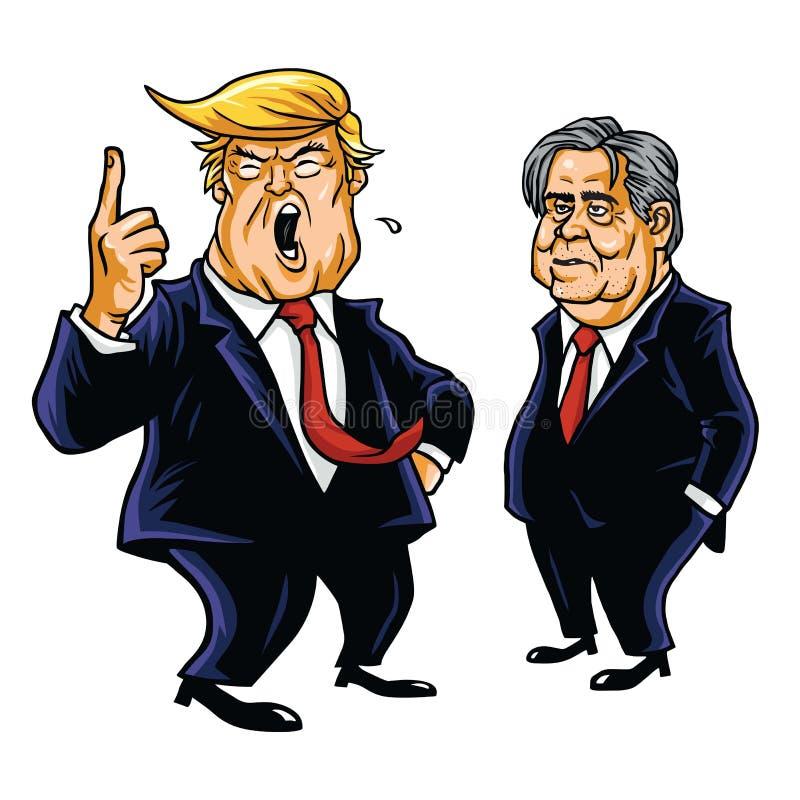 Donald Trump y Steve Bannon Vector Cartoon Caricature ilustración del vector