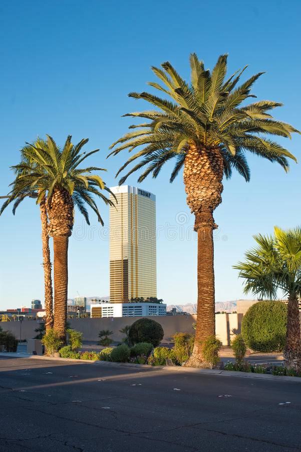 Donald Trump's hotel in Las Vegas. Donald Trumps hotel in Las Vegas, view from Las Vegas Blvd. This hotel has exterior windows coated in 24 carat gold. September stock photography