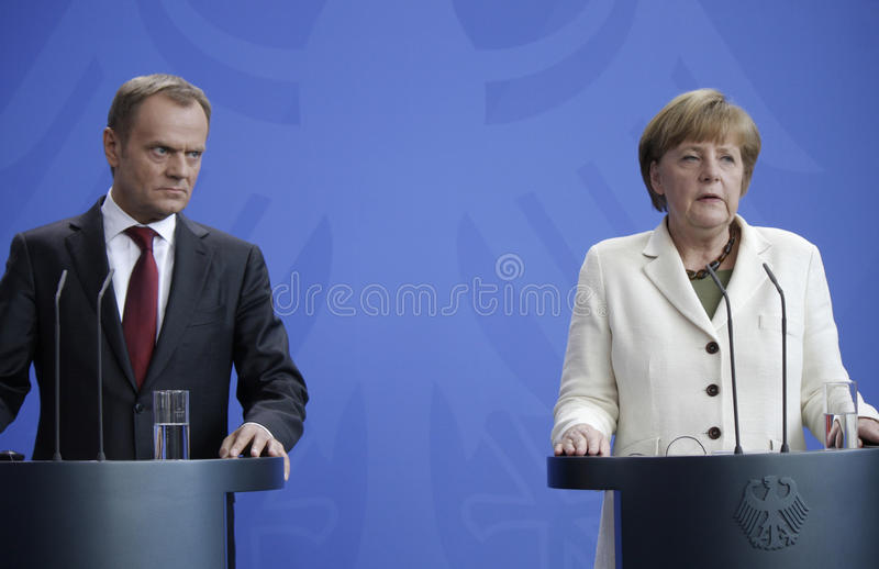 Donald Tusk, Angela Merkel. APRIL 25, 2014 - BERLIN: Donald Tusk, Angela Merkel at a press conference after a meeting of the prime minister of Poland and the royalty free stock image