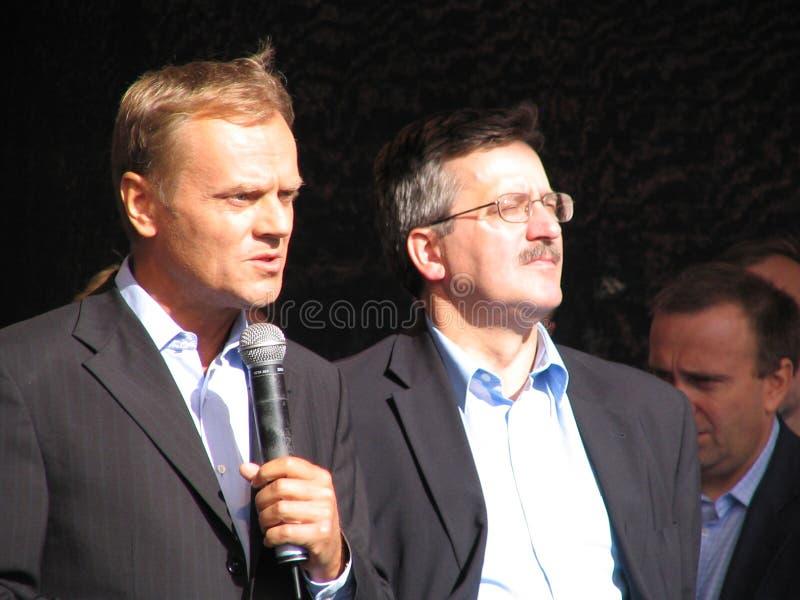 Donald Tusk and Bronislaw Komorowski stock photo