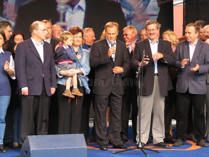 Donald Tusk en leiders van het Burgerlijke Platform stock fotografie