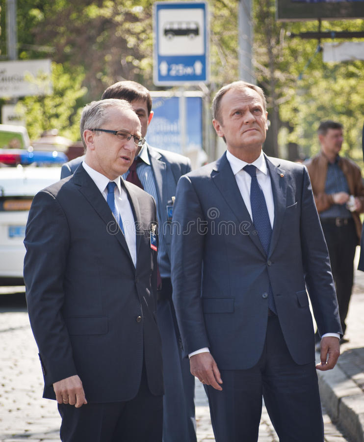 Donald Tusk in Kiew lizenzfreie stockfotografie