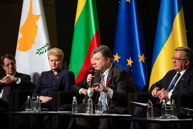 Donald Tusk, Petro Poroshenko, Dalia Grybauskaite, Bronislaw Kom lizenzfreie stockbilder