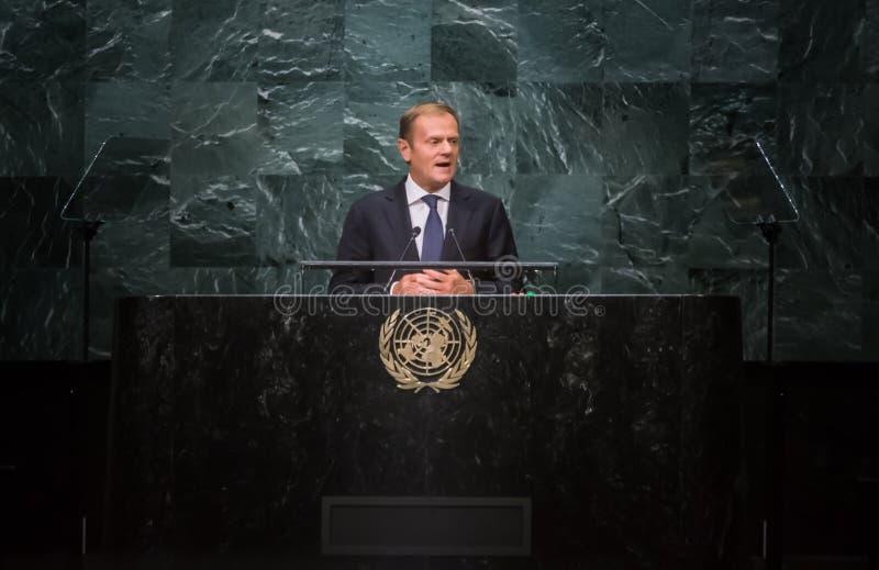 Donald Tusk, presidente do Conselho Europeu no general Assembl do UN imagem de stock